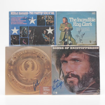 Haggard, Kristofferson, Clark and Williams Jr. Signed Album Covers
