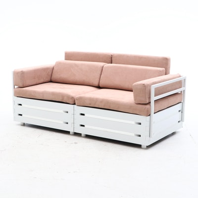 Contemporary Two Piece Storage Sofa with Cushions