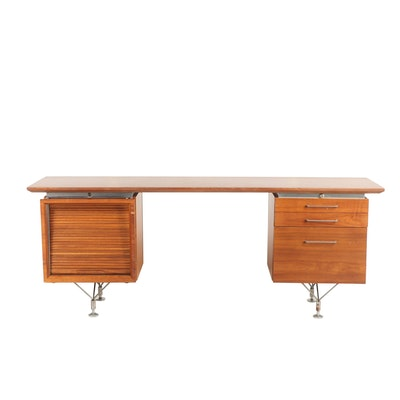 Stow & Davis Mid Century Modern Wooden Desk with Tambour Cabinet Door