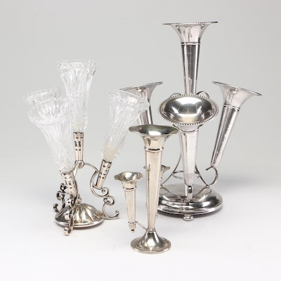Barker Brothers Silver Plate and Pressed Glass Epergne with Other Epergne