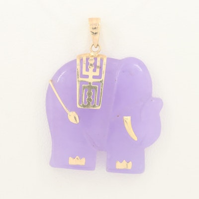 Chinese 14K Yellow Gold Jadeite Elephant Pendant