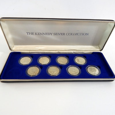 """Set of """"The Kennedy Silver Collection"""" with 8 Half Dollars 1964-1976"""
