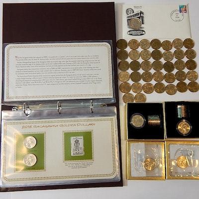 PCS Sacagawea Golden Dollars, Danbury Mint Uncirculated Dollars, More