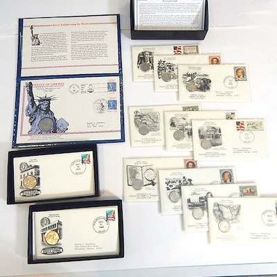 Susan B. Anthony First Day Issue Coin Set, Statue of Liberty First Day and More