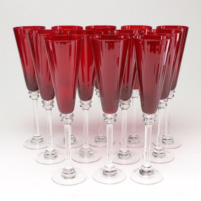 Ruby Glass Champagne Flutes