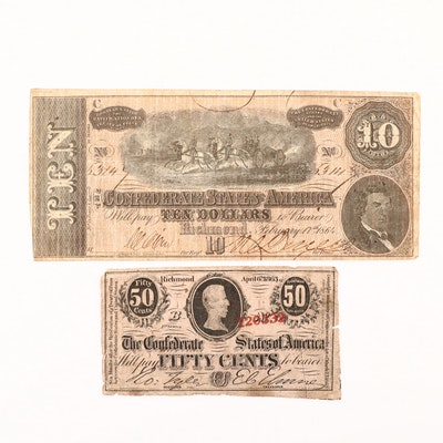 Two Confederate States of America Currency Notes