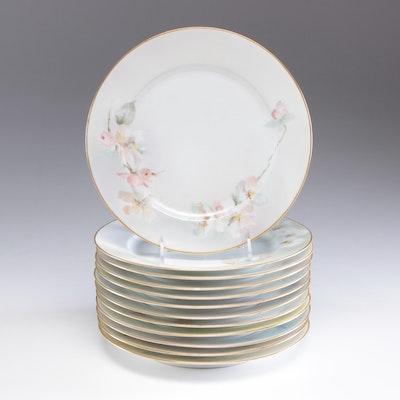Gérard, Dufraissex & Abbot Porcelain Dinner Floral Motif Plates, Mid-Century