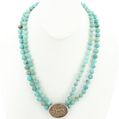 Capitoline Wolf Turquoise Double Strand Necklace with Sterling Silver Accents