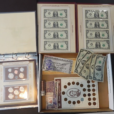 2018-S Proof Set, Uncut Federal Reserve Note Set, Foreign Currency, and More