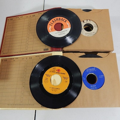 Two Albums of 45 RPM Records with Rock, R&B, Easy Listening, Pop, and More