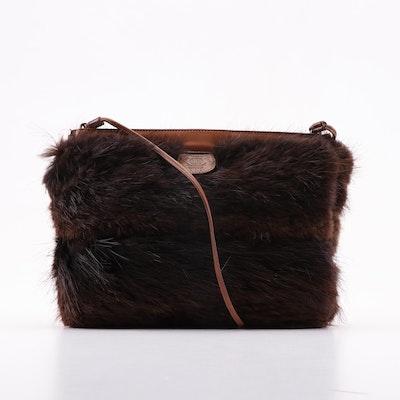 Ghurka Dyed Muskrat Fur and Leather Shoulder Bag, 1982 Vintage