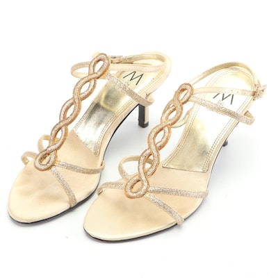 M by Marinelli Gold Tone T-Strap Heeled Sandals