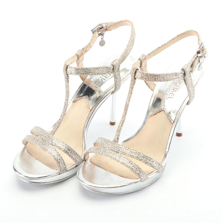 MICHAEL Michael Kors Silver Tone T-Strap High Heel Sandals