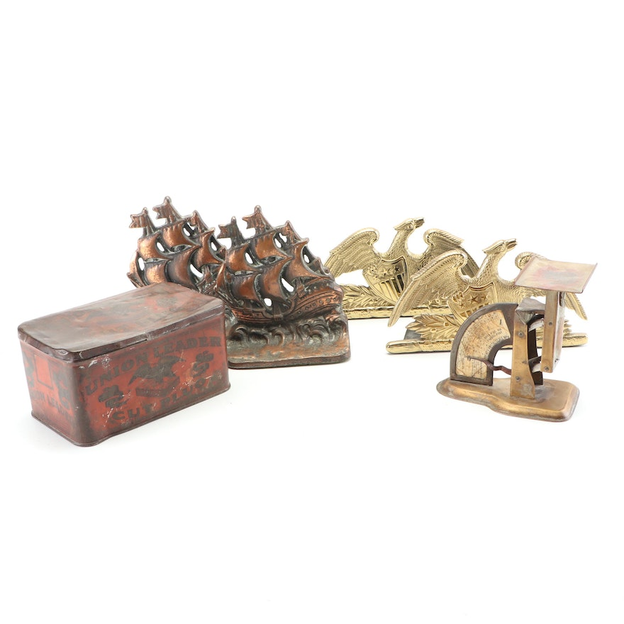 Vinage Decor including Tin Box, Postal Scale and Bronze Bookends