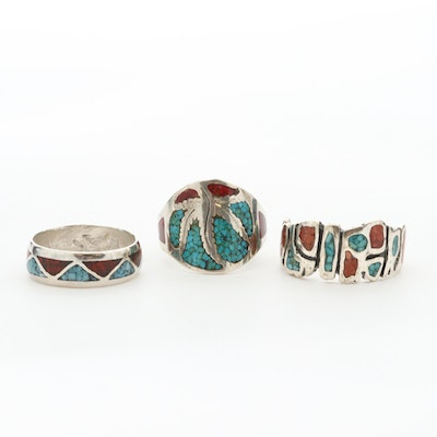 Sterling and 800 Silver Three Chipped Turquoise and Chipped Coral Rings