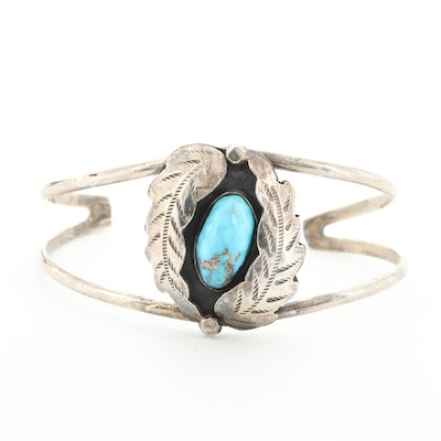 Signed Nelson Sterling Silver Turquoise Cuff Bracelet