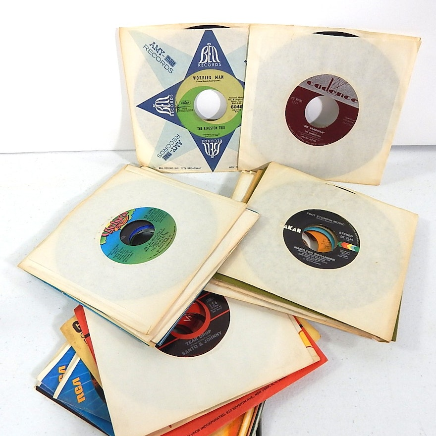 45 RPM Records from 1960s and 1970s with Rock, R&B, Disco, Easy Listening