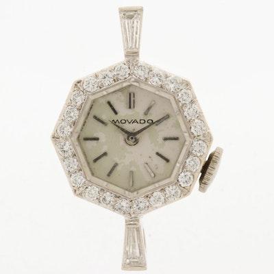 Vintage Movado 8989 14K White Gold and Diamond Stem Wind Watch