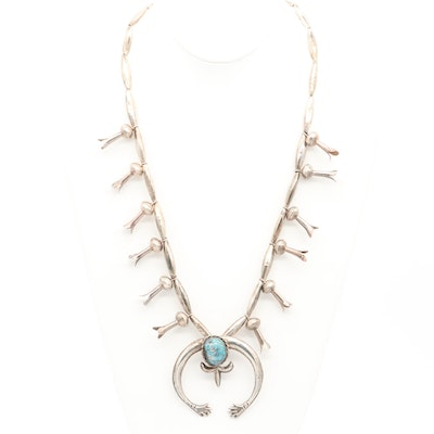 Southwestern Style Sterling Silver Turquoise with Quartz Squash Blossom Necklace