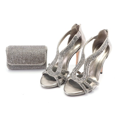 Antonio Melani Embellished Metallic Leather High Heeled Sandals and Clutch