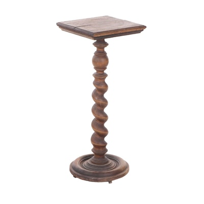 Barley Twist Walnut Pedestal Plant Stand, Late 19th Century