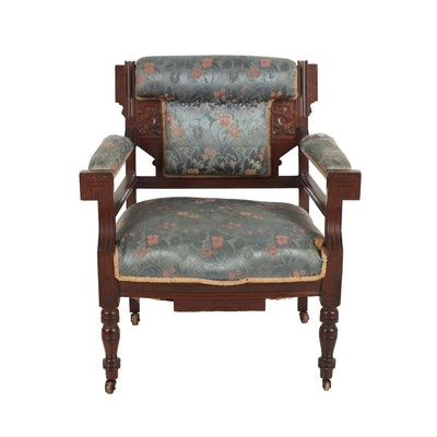 Wooden and Upholstered Arm Chair, Early 20th Century
