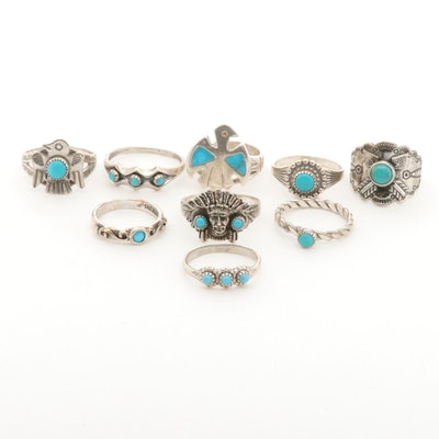 Southwestern Style Sterling Genuine and Imitation Turquoise Ring Assortment