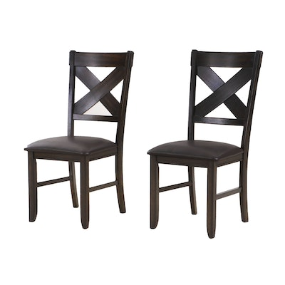 Pair of Crown Mark Wood and Leather Dining Chairs, Contemporary