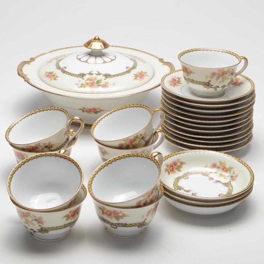 """Noritake """"Aubery"""" Gilded Dinnerware, Vintage"""