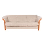 "Ekornes ""Manhattan"" Leather and Beech Frame Sofa"