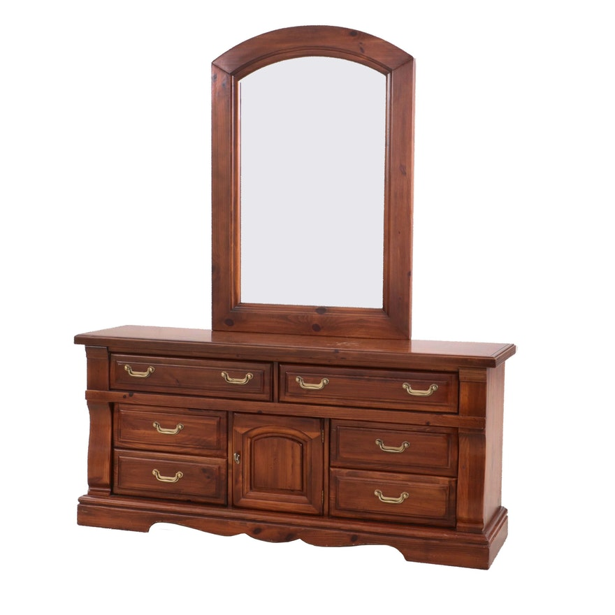 Burlington Furniture Cherry Finish Pine Chest of Drawers and Mirror