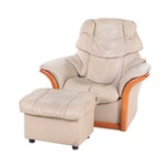 "Ekornes ""Manhattan"" Leather and Beech Pivoting Recliner with Storage Ottoman"