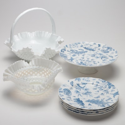 "Fenton ""Hobnail"" Ruffled Opalescent & Milk Glass with Portmeirion Dinnerware"