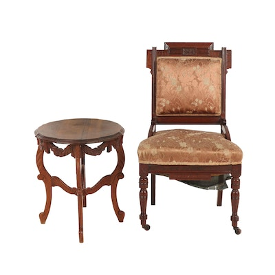 Victorian, Eastlake Style Walnut Side Chair with Rococo Style Table