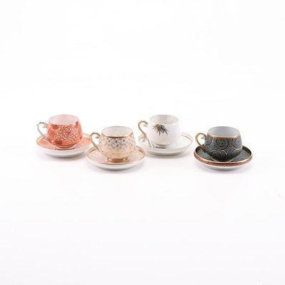 Japanese Lithophane Porcelain Teacups and Saucers
