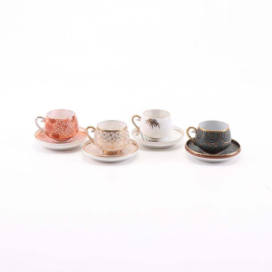 Japanese Lithophane Porcelain Teacups and Saucers