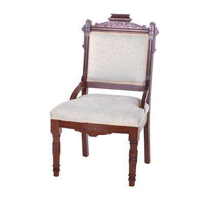 Eastlake Style Upholstered Cherry Side Chair, Late 19th Century