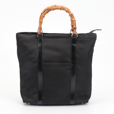Gucci Black Nylon and Glazed Leather Tote Bag with Bamboo Handle