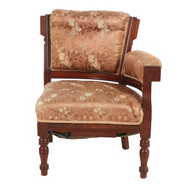 Victorian, Eastlake Style Walnut and Upholstered Corner Chair, Late 19th Century