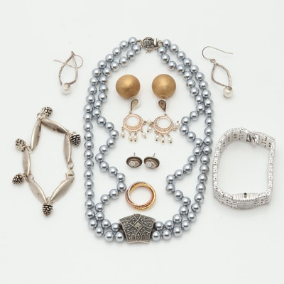 Sterling Silver Vintage Style Jewelry with Keneth Jay Lane, Pearls & More