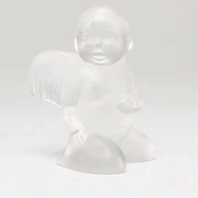 """Lalique """"Eltons Angel of Hope"""" Frosted Crystal Cherub Figurine"""
