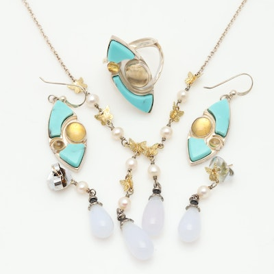Sterling Silver Jewelry Sets with 18K Yellow Gold Beads, Turquoise & More