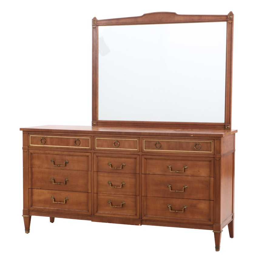 Kindel Cherry Dresser and Mirror, Mid to Late 20th Century