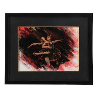 21st Century Ballet Dancers Oil Painting