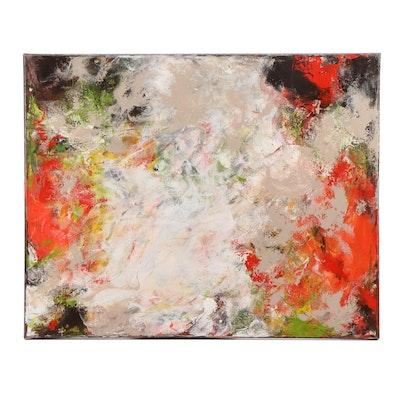 "Sanna Abstract Acrylic Painting ""Orange & Green"""