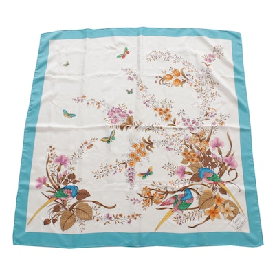 "Gucci ""Accessories Collection"" Silk Scarf with Birds, Butterflies and Florals"