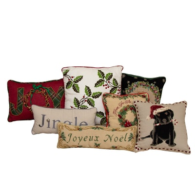 Needlepoint Christmas Accent Pillows