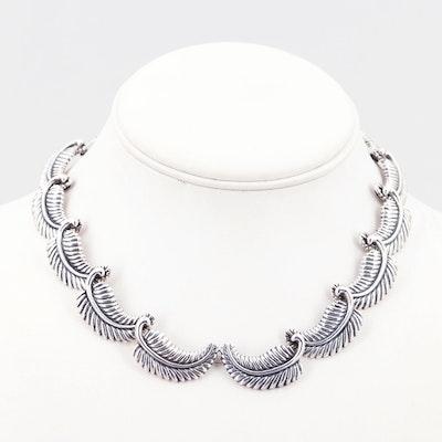 Los Castillo Taxco Mexico Sterling Silver Feather Necklace