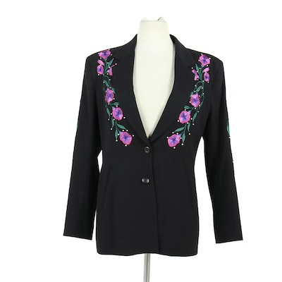 The Manuel Collection Embroidered Gabardine Wool Blazer with Rhinestones