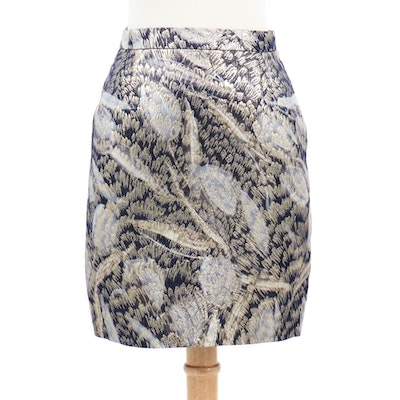 Escada Couture Wool Blend Pencil Skirt With Gold Lurex